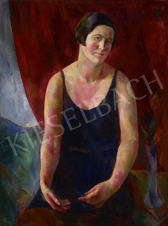 Fonó (Fleischer) Lajos - Nő vörös drapéria előtt, 1927 festménye