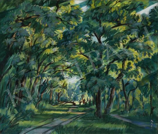 Boromisza Tibor - Napfényes erdő kirándulókkal (Debreceni Nagyerdő), 1927 festménye