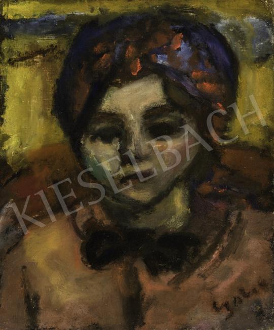 Czóbel Béla - Fiatal lány kék-piros fejkendővel, masnival (Zsuzsika), 1930 festménye