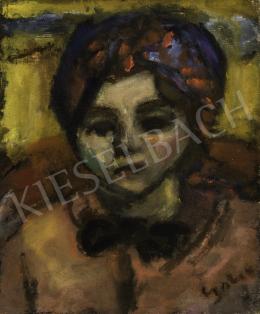 Czóbel Béla - Fiatal lány kék-piros fejkendővel, masnival (Zsuzsika), 1930