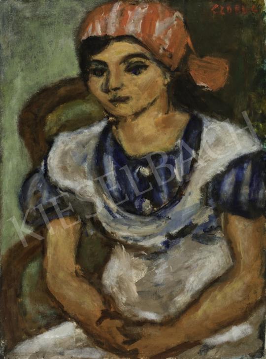 Czóbel Béla - Piroskendős lány, 1934 festménye