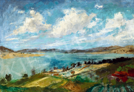 Szőnyi István - Felhők a Duna felett (Zebegényi Dunakanyar), 1930-as évek festménye