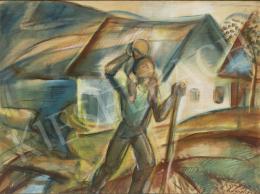 Egry József - Szent Kristóf a faluban (Badacsony), 1924