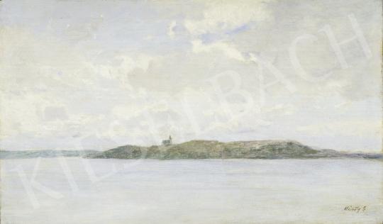 Mészöly Géza - Balaton (A tihanyi apátság) festménye