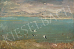 Molnár C., Pál - View of Lake Balaton with Storks, 1930s