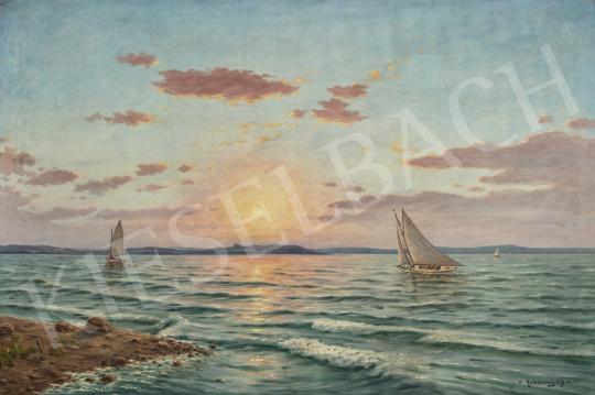 Rubovics Márk - Balatoni naplemente háttérben Tihannyal festménye
