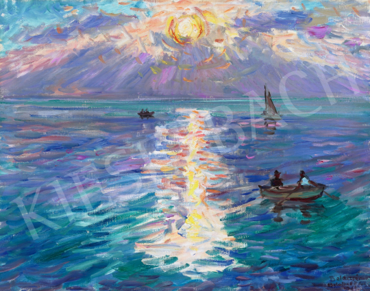 Eladó  Boldizsár István - Balatonföldvári naplemente festménye