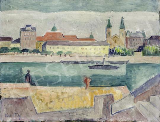 Kmetty János - Budapest látképe a Rác fürdővel és a Belvárosi templommal, 1920-as évek festménye