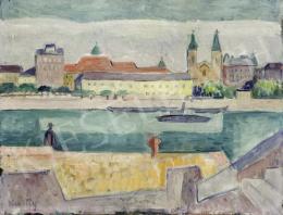 Kmetty János - Budapest látképe a Rác fürdővel és a Belvárosi templommal, 1920-as évek