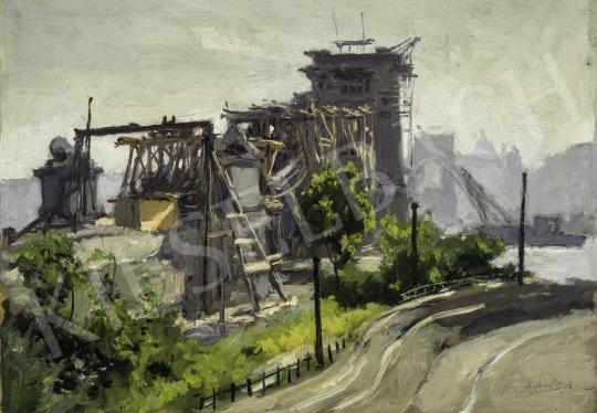 Edvi Illés Aladár - Az újjáépülő Lánchíd, 1948 festménye
