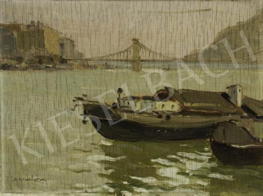 Csallóközi Farkas Lőrinc - Budapest, Dunai látkép háttérben a Gellértheggyel, 190 körül festménye