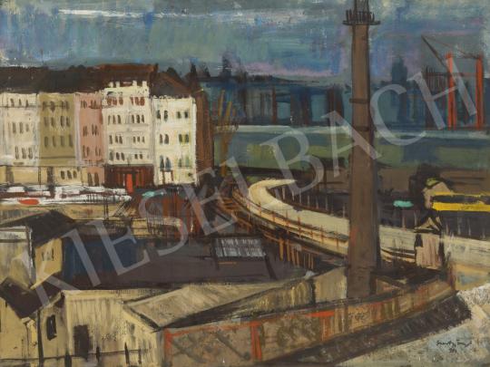 Szentgyörgyi Kornél - Új Erzsébet híd (Szocializmus, Dunapart), 1963 festménye