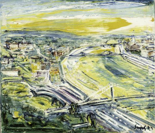Sváby Lajos - Budapesti nagy látkép, 1974 festménye
