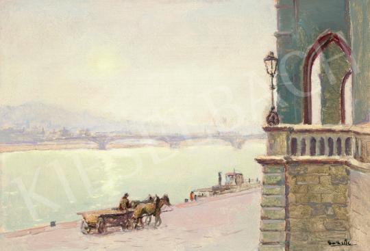 Guzsik Ödön - Dunapart, Parlament, Rózsadomb, 1930-as évek festménye