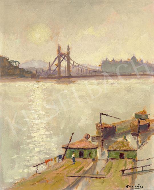 Guzsik Ödön - Budapest (A régi Erzsébet híd háttérben a Budai Várral), 1930-as évek festménye