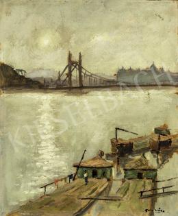 Guzsik Ödön - Budapest (A régi Erzsébet híd háttérben a Budai Várral), 1930-as évek