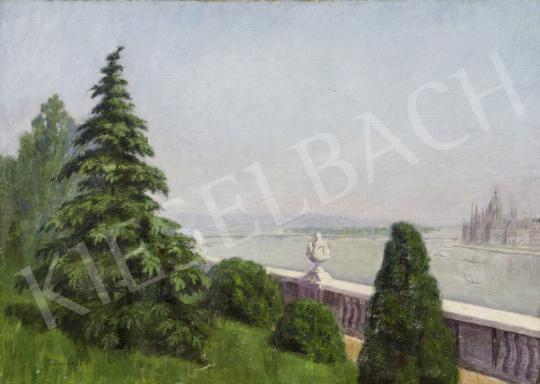 Czölder Dezső - Kilátás a Várpalota kertjéből, 1930-as évek festménye