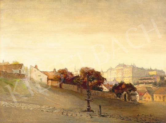 Háry Gyula - A Budai vár a Tabánból, 1910 festménye