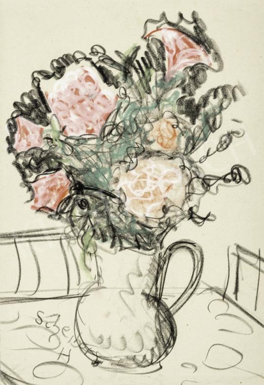 Scheiber Hugó - Asztali csendélet rózsaszín virágokkal, 1930-as évek festménye