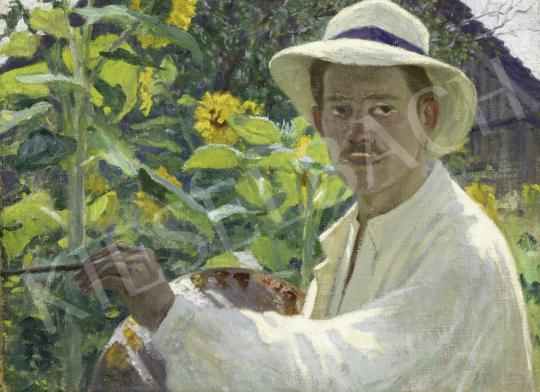 Megyer Meyer Antal - Napraforgós önarckép, 1910 körül festménye