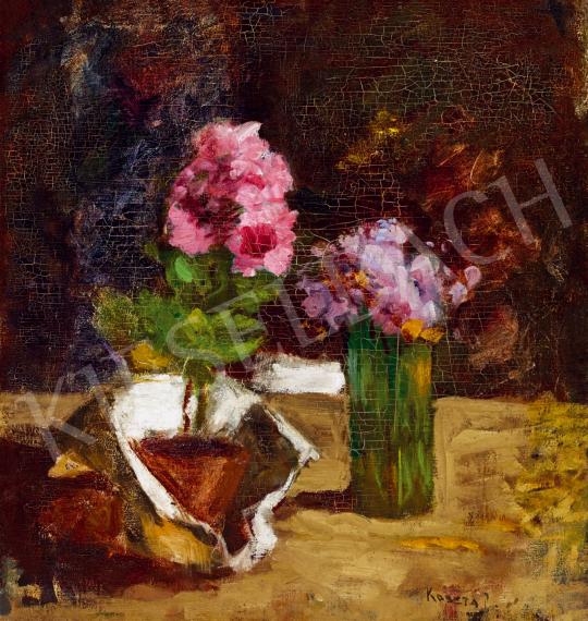 Koszta József - Virágcsendélet rózsaszín és lila virágokkal festménye