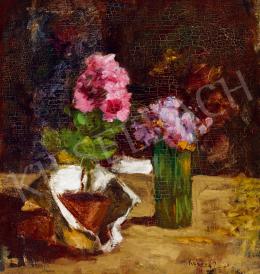 Koszta József - Virágcsendélet rózsaszín és lila virágokkal