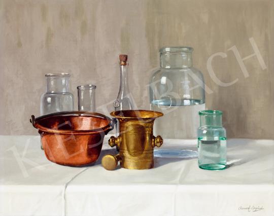 Romek Árpád - Csendélet (Üveg, Réz), 1920-as évek festménye