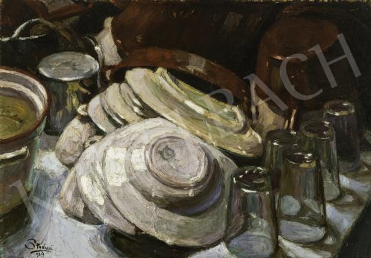 Strémi József - Tányérok, poharak, 1929 festménye