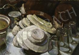 Strémi József - Tányérok, poharak, 1929