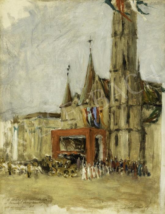 Benkhard Ágost - IV. Károly és Zita királyné koronázása a Mátyás templomban, 1916. december 30. festménye