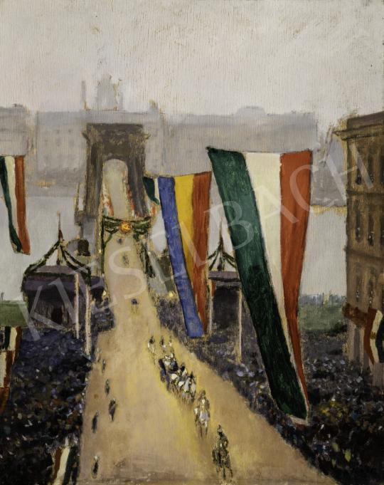 Jávor Pál - IV. Károly koronázási menete a fellobogózott Lánchídon, 1916. december 30. festménye