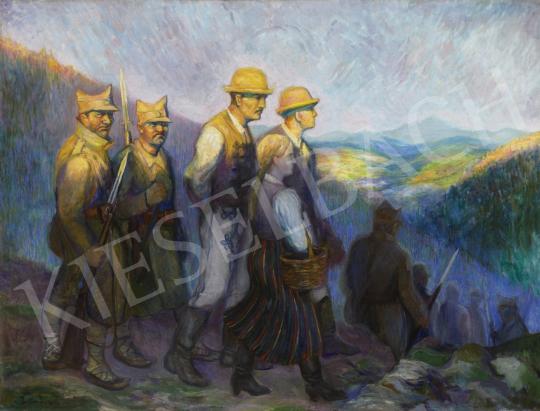 Pettes József - Erdélyi székelyek román katonákkal (Trianon), 1934 festménye