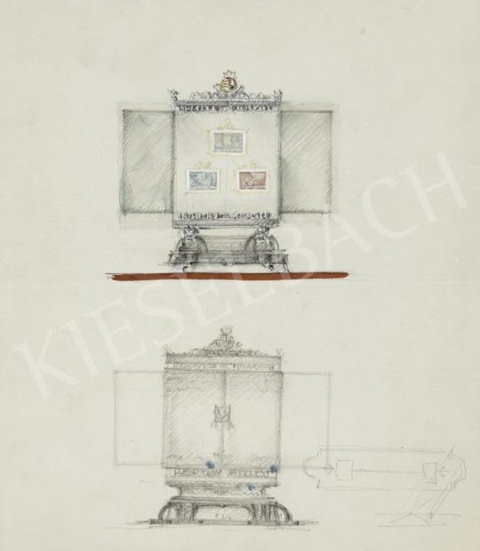 Légrády Sándor - Az 1940-es Milánói triennáléra készült Horthy Miklós bélyegek díszdobozának designtervei (7 darab) festménye