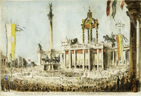 Eladó  Boldizsár István - Az Eucharisztikus világkongressszus (Hősök tere) festménye