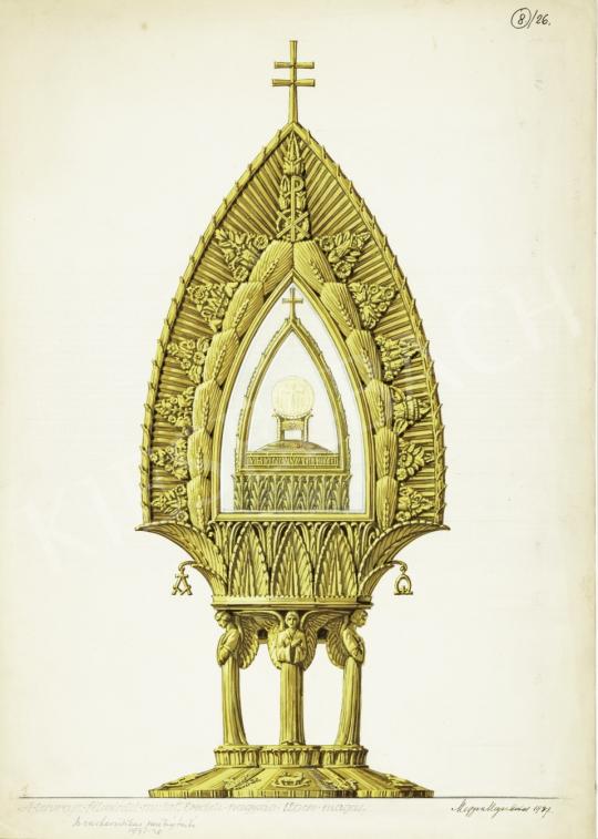 Megyer Meyer Antal - Az eucharisztikus szentségtartó kivitelezési terve, 1937–1938 festménye