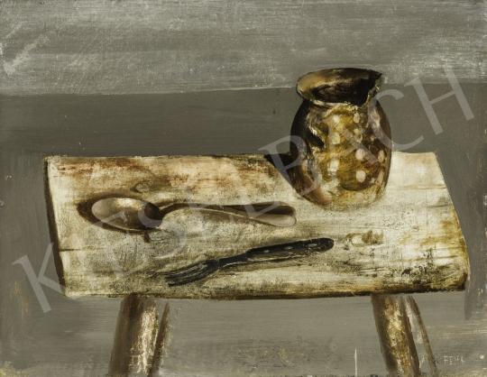 Fejér Csaba - Csendélet (Kanál, villa, cserép) festménye