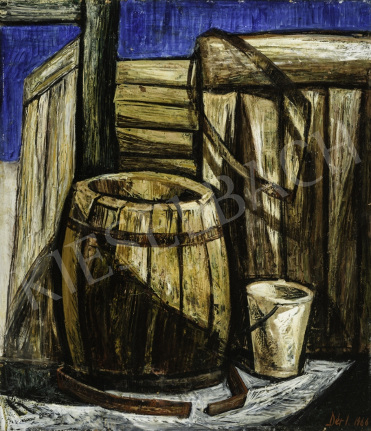 Dér István - Udvar vége, 1966 festménye