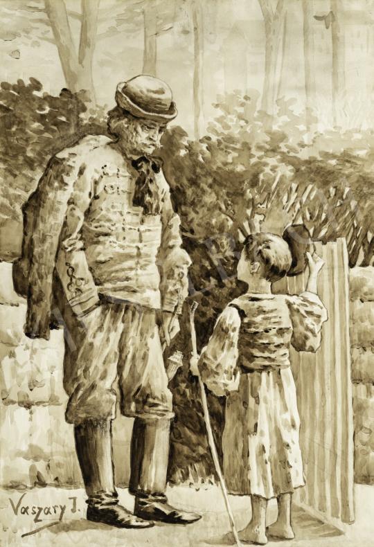 Eladó  Vaszary János - Nagypapa az unokájával, 1890-es évek festménye