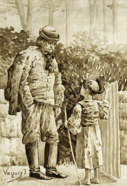 Vaszary János - Nagypapa az unokájával, 1890-es évek