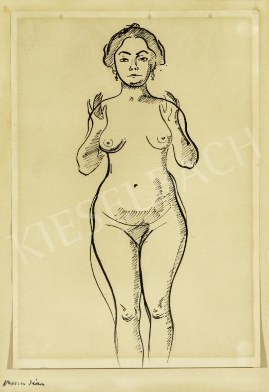 Eladó  Vaszary János - Női akt fülbevalóval, 1900-as évek festménye