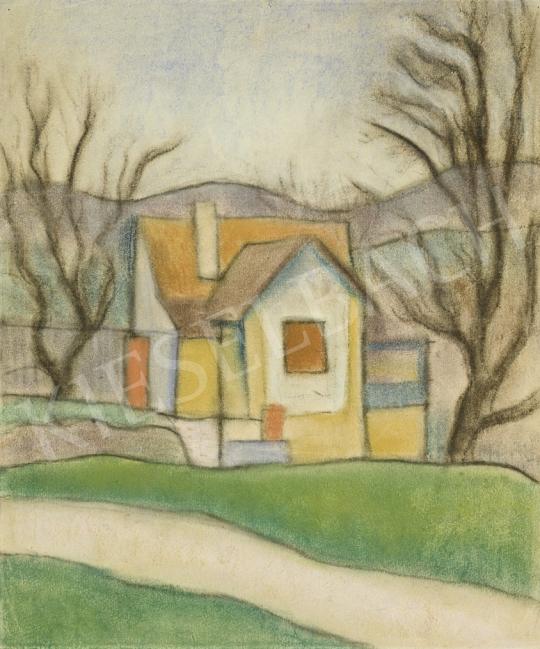 Vajda Lajos - Ház fákkal, 1924 körül festménye