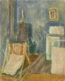 Vajda Lajos - Szobabelső vaskályhával, 1924 körül