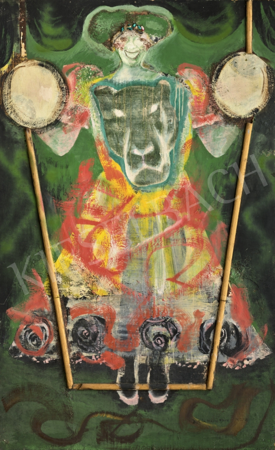 Zoltán Mária Flóra - Önarckép oroszlános ruhában (Cirkusz), 1972-73 festménye