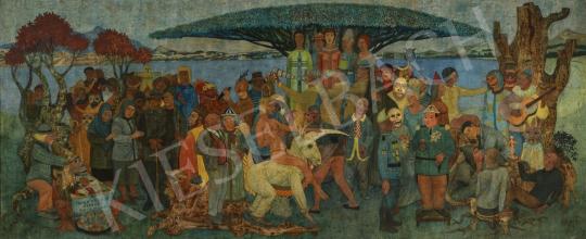 Nyári Lóránt - Totus mundus exercet histrionem (Színház az egész világ, Humor, Filozófia, Tér, Idő), 1980 körül festménye