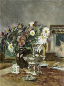 Benkhard, Ágost - Still-Life Of Flowers with Paintings in the Background, 1960