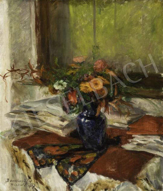 Benkhard Ágost - Virágcsendélet kék vázában, 1927 festménye