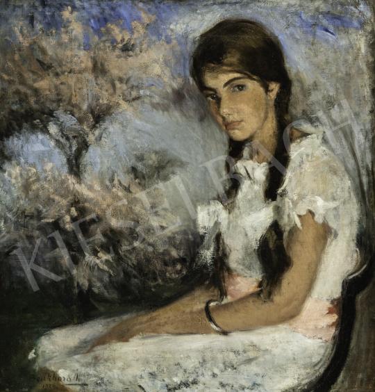 Benkhard Ágost - Tavaszi virágzás (Fehér csipkeruhás kislány), 1924 festménye