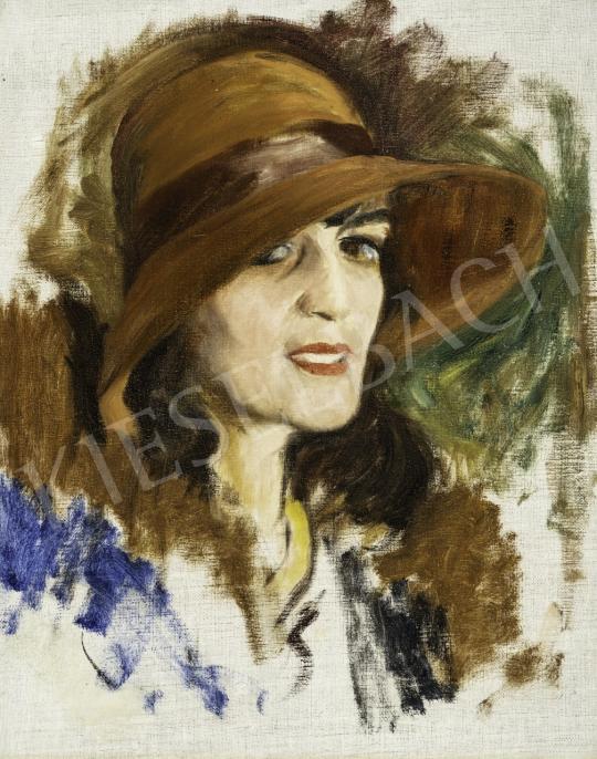 Benkhard Ágost - Barna kalapos nő festménye