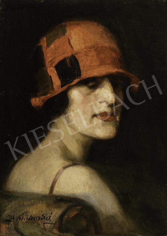 Benkhard Ágost - Hölgy piros Artdeco kalapban festménye