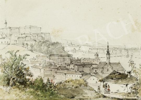 Ismeretlen 19. századi osztrák vagy magyar művész C. Czerny jelzéssel - Kilátás a Gellért-hegyről a Vár és a Lánchíd irányába, 1850 körül festménye